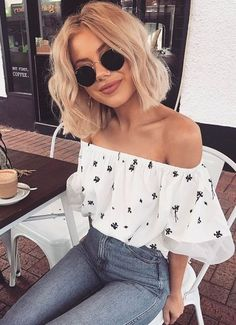 pretty summer style. off shoulder top + high waist denim.