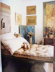 weathered furniture - old linens those cotton mattresses are cool in summer and…