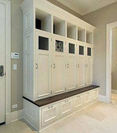 Superb Mudroom & Entryway Design Ideas with Benches and Storage Lockers (PICTURES) - unique and beautiful home design photo galleries Mudroom, Bench With Storage, Remodel, House, Locker Storage, Storage Furniture, Home, Mud Room Storage, Entryway Decor