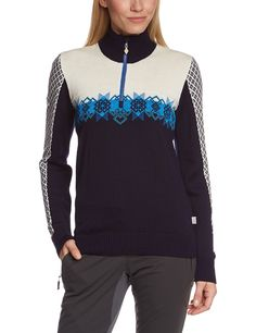 Dale of Norway Women's Fjell Sweater, Cobalt/Off White/Navy/Sochi Blue, Medium. 100% Skin soft Merino Wool. Zipper neck. Light-weight.