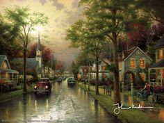 "Hometown Morning  2000          ""Hometown Morning is the sixth and final look at the hometown of my boyhood—and, I hope, at some of the things you remember most warmly about your hometown as well. ""  -Thomas Kinkade  #art #thomaskinkade #hometownmorning"
