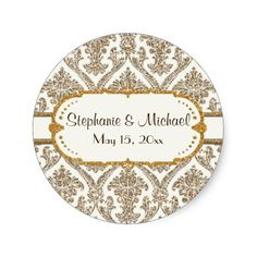 Faux Gold Glitter Damask Floral Pattern Stationery Round Stickers