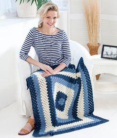 Crochet Granny Blues Lapghan. I think this will be my next pattern for a prayer shawl