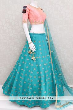 Palkhi fashion full flair teal pure silk lehenga set with light pink soft silk blouse & soft net dupatta.Exclusive designer lehenga collection from palkhi. Indian Fashion Dresses, Indian Bridal Outfits, Indian Gowns Dresses, Dress Indian Style, Indian Designer Outfits, Corset Dresses, Pakistani Outfits, Fashion Outfits, Half Saree Lehenga