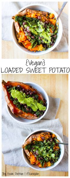 The ultimate vegan loaded sweet potato - packed with kale, black beans, and topped off with a homemade green goddess dressing. Perfect for a quick and easy weeknight meal. | The Foodie Dietitian @karalydon