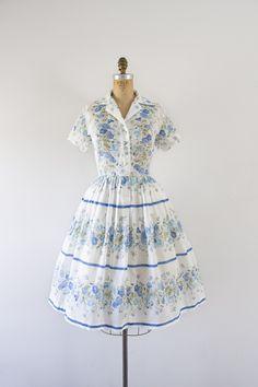1950s Victorian Rose cotton day dress / 50s blue garden
