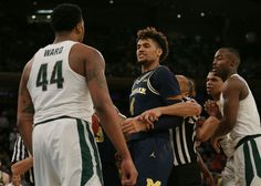 Michigan State forward Nick Ward and Michigan forward Isaiah Livers will square off twice during the Big Ten season in a span of 13 days. Wolverines Basketball, Ncaa Final Four, State Game, Michigan State Spartans, Go Blue, College Basketball, Sports News, Tank Man, Champion