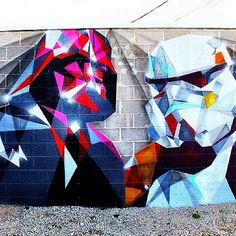Airbrushed Star Wars street art - I wonder where this is? More importantly, an airbrush system designed to look like a lightsaber should exist if it doesn't already.