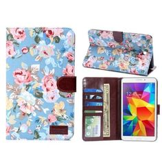 Samsung Galaxy Tab 4 7.0 Leather Case with Credit Card Slots in blue and pink floral print exterior from Gift Vouchers on ezebee.com