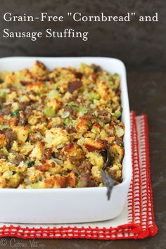 Cornbread and Sausage Stuffing - Homemade grain-free Paleo 'cornbread' sauteed onions celery sausage chicken stock eggs and herbs make for a nutrient dense and healthy addition to the dinner table. Gluten Free Thanksgiving, Thanksgiving Side Dishes, Thanksgiving Recipes, Holiday Recipes, Thanksgiving Stuffing, Holiday Meals, Winter Recipes, Family Holiday, Christmas Desserts