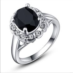 Beautiful black stone ring Gorgeous exquisite 18K white gold plated platinum black stone new size 8 Jewelry Rings