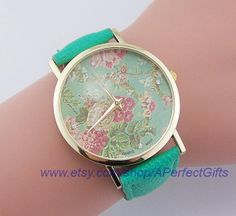 http://www.beautifulseasondiy.com/ Vintage roses watch Mint leather print Floral Watch Women's whatch Vintage Valentine's day gifts boyfriend or girlfriend Wholesale retail by APerfectGifts, $2.99
