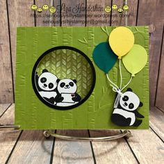 Today I'm sharing my latest Panda Project with you. I've called it a window wiper card. (I can't even tell you how many times I've said windshield wiper … Fancy Fold Cards, Folded Cards, Kids Cards, Baby Cards, Panda Party, Karten Diy, Kids Birthday Cards, Panda Birthday, Stamping Up Cards