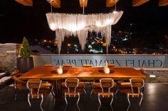 Solid teak external dining table with bio fires on the terrace at Chalet Zermatt Peak 3d Wallpaper Design, Designer Wallpaper, Bespoke Furniture, Furniture Design, Mountain Decor, Zermatt, Teak, Terrace, Dining Table