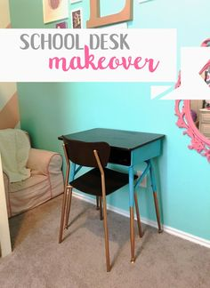 school desk makeover u2013 little brick homestead old school desk spray painted with gel stain top