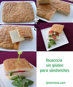 Focaccia para sándwiches. Sin gluten, sin lactosa, sin huevo Veggie Recipes, Gluten Free Recipes, Vegetarian Recipes, Healthy Recipes, Pizza Sin Gluten, Healthy Cooking, Cooking Recipes, Sans Gluten Ni Lactose, Gluten Free Bakery