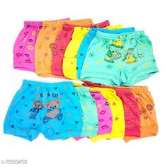 Innerwear Elegant Kid's Innerwear  Fabric: Cotton Size: Age Group (0 Months - 6 Months) - 12 in Age Group (6 Months - 9 Months) - 12 in Age Group (9 Months - 12 Months) - 14 in Age Group (1 - 2 Years) - 18 in Age Group (2 - 3 Years) - 20 in Age Group (3 - 4 Years) - 22 in Age Group (4 - 5 Years) - 24 in Description: It Has Pack Of 12 Kids Panty & Bloomer For Unisex Work: Printed Country of Origin: India Sizes Available: 0-3 Months, 0-6 Months, 3-6 Months, 6-9 Months, 6-12 Months, 9-12 Months, 12-18 Months, 18-24 Months, 0-1 Years, 1-2 Years, 2-3 Years, 3-4 Years, 4-5 Years, 5-6 Years, 6-7 Years, 7-8 Years, 8-9 Years, 9-10 Years, 10-11 Years, 11-12 Years   Catalog Rating: ★3.9 (3395)  Catalog Name: Modern Elegant Kid's Innerwear 1 Vol 8 CatalogID_499238 C59-SC1187 Code: 413-3580432-447