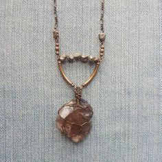 Custom handmade Smoky Quartz and Pyrite raw crystal necklace www.marleecwatts.etsy.com