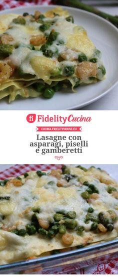 Lasagne con asparagi, piselli e gamberetti Crepes, Quiche, Polenta, Breakfast, Food, Morning Coffee, Pancakes, Essen, Quiches