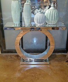 Art Deco Circle Base Mirrored Console Table - treasurecombers