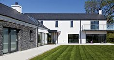 Drumlins Eco House, Co. Down — Paul McAlister Sustainable and Passive House Architects - Portadown, Belfast, Northern Ireland Modern Barn House, Modern House Plans, House Designs Ireland, Passive House Design, Ireland Homes, House Ireland, House Extension Design, Rural House, Modern Farmhouse Plans