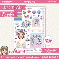 PP/195/CC/SL - Print&Play - CUTE CUTS - Simply Lady - Karalea Collection