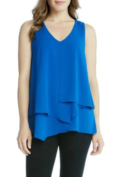 Cobalt sleeveless top with silky crepe layers.  Cobalt Layered Tank by Karen Kane. Clothing - Tops - Tees & Tanks Texas