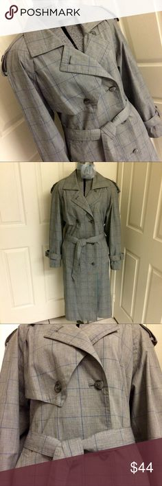 VINTAGE gray plaid trench coat Light weight trench coat in gorgeous gray and blue plaid. Coat is fully lined in a lovely royal blue. 2 side pockets & matching belt. Total length 45 inches, inseam under arms 17 inches. 24 inches across back (measuring flat inside coat from armpit to armpit). NO material/care or size tag in garment. Will fit sizes Large & XL. Dry cleaning recommended. Designer tag pictured, along with 2 extra buttons. Perfect RETRO trench coat for this Fall! 🍂 VINTAGE Jackets…