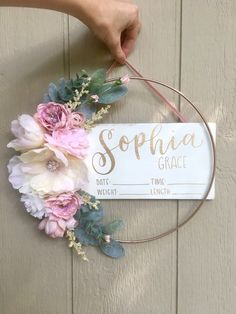 nursery ideas, Adorable hospital door hanger for hospital crib photo - birth stat sign 😍😍💕 Hospital Signs, Hospital Door Hangers, Baby Door Hangers, Birth Announcement Sign, Girl Nursery, Nursery Ideas, Butterfly Baby, Floral Hoops, New Baby Gifts