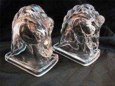 Federal Glass Vintage Horse Book Ends