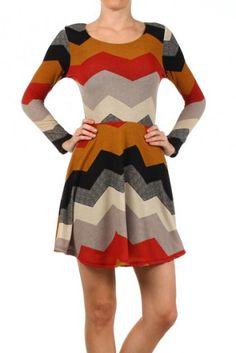 Chevron striped sweater dress with an elastic waist and an A-line hem