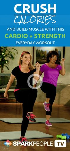 Crush calories and grow your muscles with this cardio workout that incorporates strength training. You'll get your morning started off right!