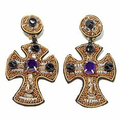 RK by Ranjana Khan Beaded Leather Cross Drop Earrings