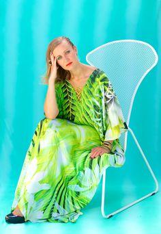 Lotta Stensson Palm Lace up Maxi Poncho Kaftan! #lottastensson #lottanyc #fashion #beachwear #resortwear #lottalove