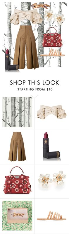 """""""Dreamland"""" by cait-j ❤ liked on Polyvore featuring Cole & Son, Johanna Ortiz, Fendi, Lipstick Queen, Kenneth Jay Lane, Ancient Greek Sandals, country, floral, onceuponatime and fairytale"""