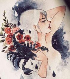 SCORPIO  WOMAN Scorpio Art, Zodiac Art, Scorpio Woman, Scorpio Zodiac, Drawing Sketches, Art Drawings, Amazing Drawings, Love Art, Art Inspo