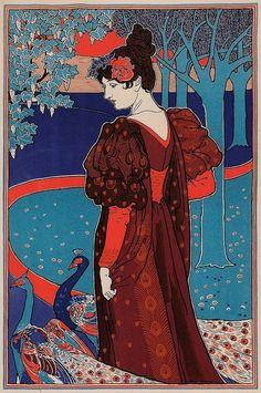 Promenade au parc de luxembourg,  Jugendstil poster,  Art-nouveau affiche