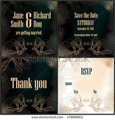 Black creative wedding invitation set with rustic halftones and butterflies