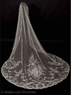Stunning  Rare Antique Brussels Point De Gaze Lace Wedding Veil, with 3 dimensional roses. Available from Antique Lace Heirlooms.