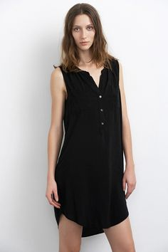 ELIAH CHALLIS COLLARLESS SHIRT DRESS-black-rayonchallis-x-small