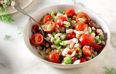 Φασόλια πιάζ με κρεμμυδάκια και ντοματίνια - Συνταγές - Νηστίσιμες συνταγές | γαστρονόμος Pasta Salad, Salads, Ethnic Recipes, Food, Crab Pasta Salad, Essen, Meals, Yemek, Salad