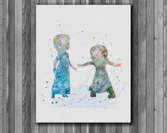 Elsa and Anna DISNEY watercolor,  Frozen - Art Print, instant download, Watercolor Print, poster by digitalaquamarine on Etsy https://www.etsy.com/listing/220663904/elsa-and-anna-disney-watercolor-frozen