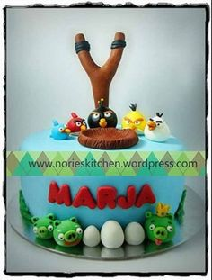 Angry Birds Cake. At least I can still use bird cages, moss, and logs.