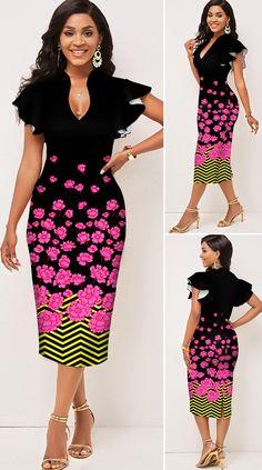 Ruffle Sleeve Floral Print V Neck Dress HOT SALES, beautiful dresses, pretty dresses, holiday fashion, dresses outfits, dress, cute dresses, clothes, classy & elegant, elegant style, mode trends, trending, fashion, fashion looks, moda, women, beautiful, beauty, buy, sale, shop, shopping, vestidos elegantes, vestidos fofos, vestidos bonitos Pretty Dresses, Beautiful Dresses, Fashion Looks, Fashion Fashion, Fashion Women, Cute Dress Outfits, Holiday Fashion, V Neck Dress, Ruffle Sleeve