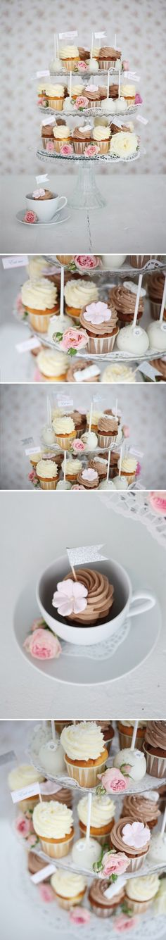 Perfect for a tea party or shower! Cupcakes and Cake Pop 3-tiered dessert stand by Zuckermonarchie #recipebook #paleo #diet