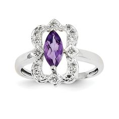 14k White Gold Diamond and Amethyst Ring