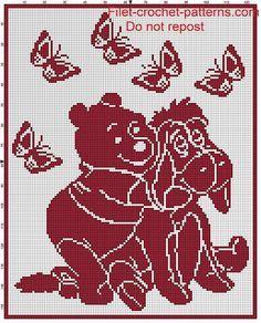 Baby blanket Winnie the Pooh filet crochet pattern