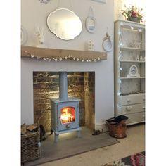 enamel multi-fuel woodburning stove in blue Wood Burner Fireplace, Modern Fireplace, Fireplace Design, Fireplace Ideas, Cottage Fireplace, Fireplace Kitchen, Bedroom Fireplace, Cozy Fireplace, Fireplace Surrounds