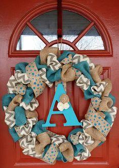 Turquoise & Gray Chevron Burlap Wreath by WreathAddictionbyT, $50.00