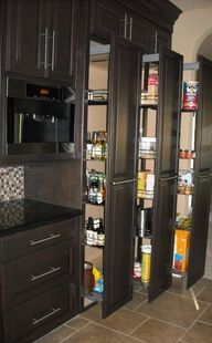 Pull out cabinets are so useful and a good use of space